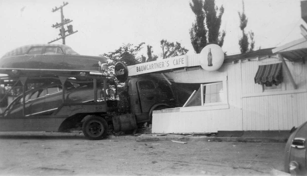 Old Truck Driven Through Baumgartner's Restaurant